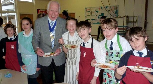 The Mayor of Christchurch, Cllr Peter Hall visits St Joseph's school