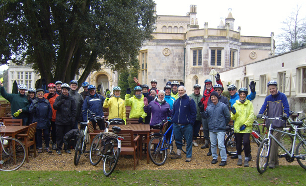 Participants on the first weekly cycle ride from Highcliffe Castle on Monday 14 January 2013
