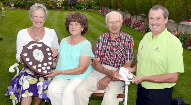 Last year's winners: From left: Cllr Mrs Jean Read with Frances and Norman Jeffs and Haskin's Andrew Stevens