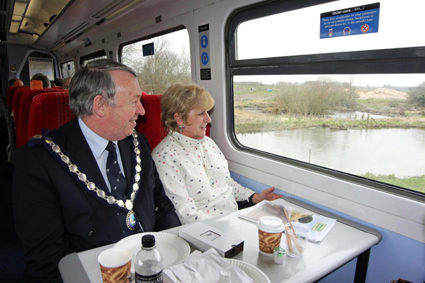 On the single line to Swanage – the Mayor and Mayoress of Swanage cross the River Frome south of Worgret Junction