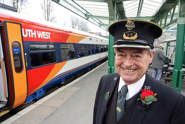 Swanage Railway volunteer guard John Stopher, of New Milton, at Swanage – he took the special train from Motala to Swanage