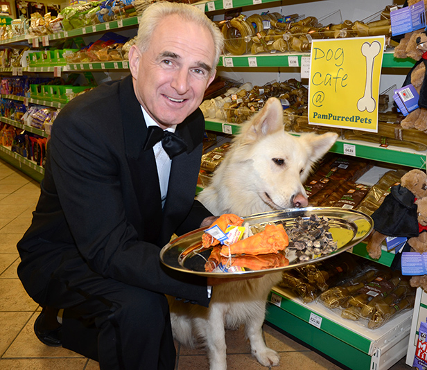 Steve Fowler with his dog Izzy at a store's Dog Café
