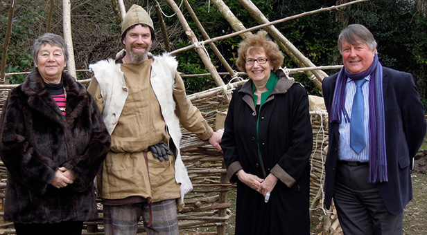 Annette and Councillor Susan Jefferies with Andrew Jones, Chairman of the Governors and an iron Age instructor from the Ancient Technology Centre at Rushcombe First School