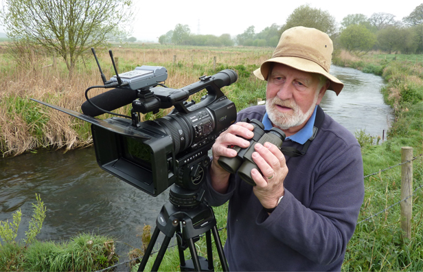Hugh Miles filming on the River Allen © L Campbell