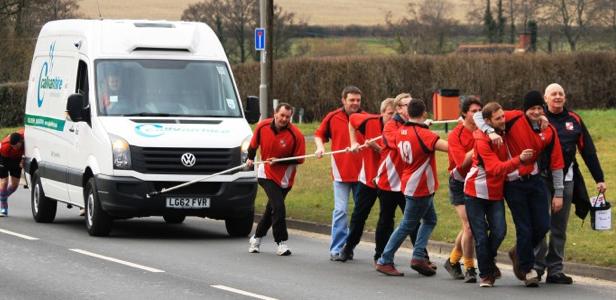 Verwood Rugby Club volunteers pull van