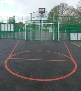 Post installation at the multi-use games area in Verwood