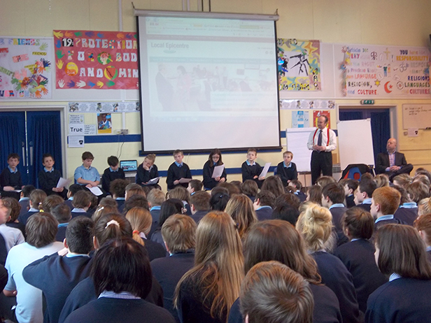 TV's Justin Urquhart-Stewart gives talk to Ferndown Middle School pupils