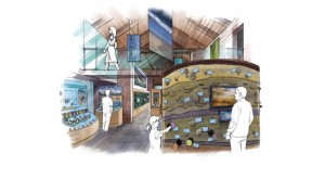 Artist's impression of the interior of the visitor centre