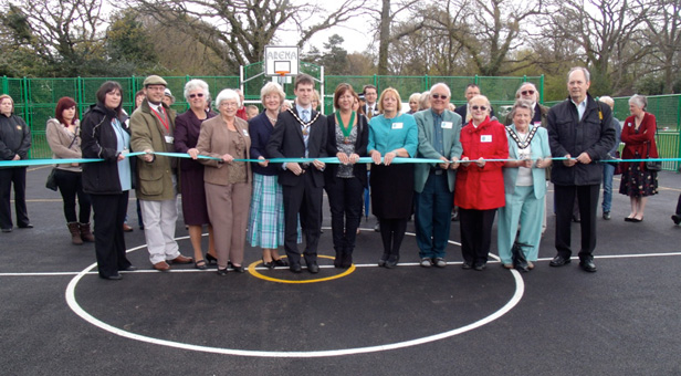Cutting the ribbon at the official opening of Verwood MUGA