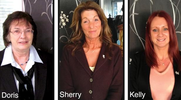 Sherry Swan (centre), Doris Rollett and Kelly Gilbert