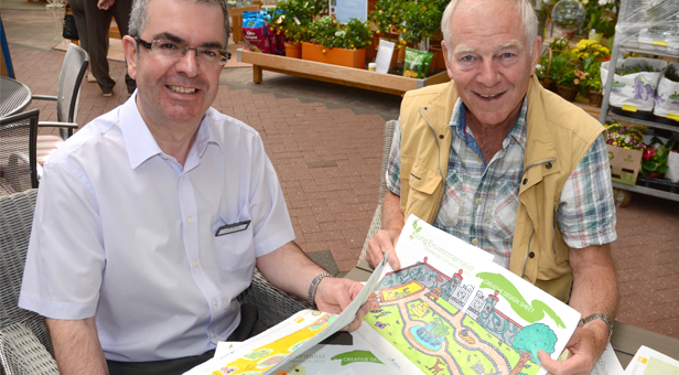 Photo: (From left) Simon Morris and Gerry Clarke view some of the wildlife garden designs