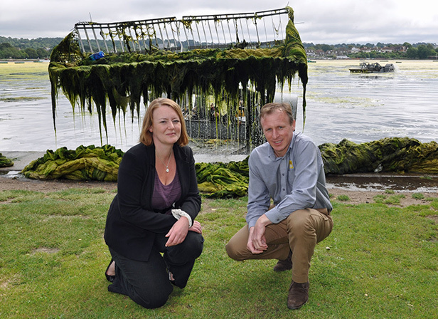 Peter Hardy, Eco's Commercial Manager, and Kate Mitchell, Open Spaces Development Manager, Borough of Poole at Poole Park whilst contractors remove weed
