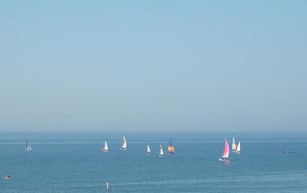 Boats sailing on an English sea