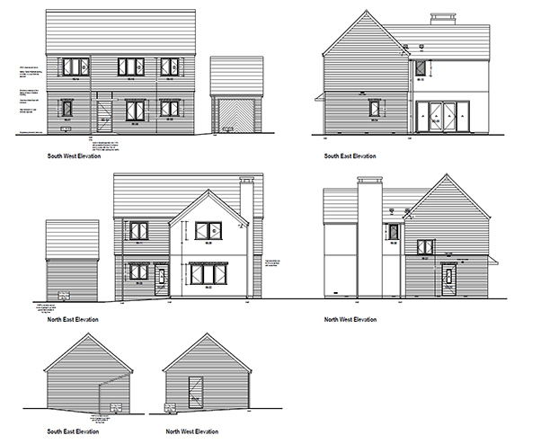 Architect's drawings of the new development at Marshfield, Colehill