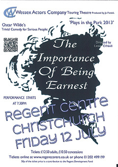 The Importance of Being Earnest, Regent Centre publicity poster