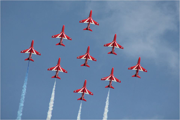 Red Arrows with a spectacular diamond formation by Kay Browning 29.8.2013