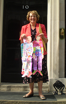 Annette at No 10 with some of the'teachers' made at St Catherines's RC Primary School
