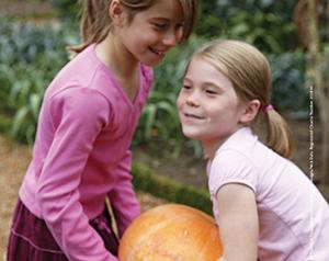 Girls carrying pumpkin