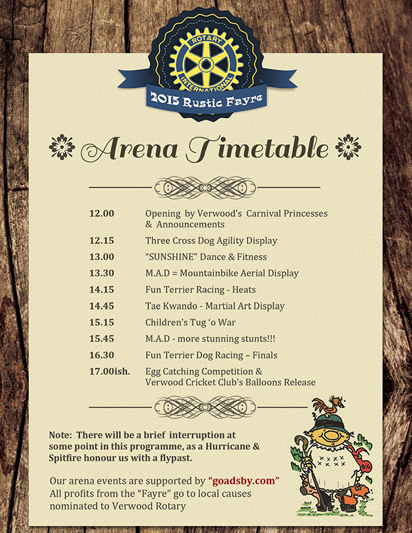 Timetable of arena events at the Rustic Fayre 2013