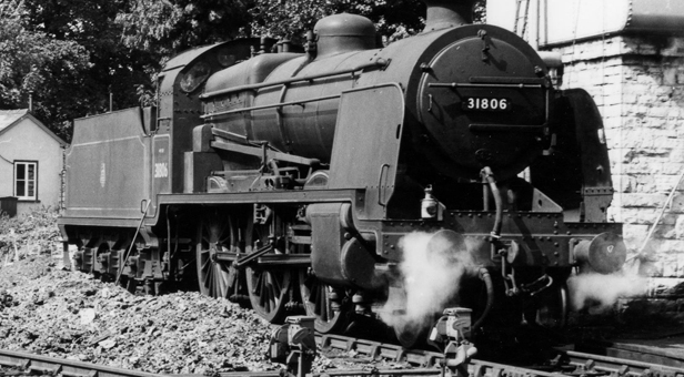 PHOTO: Southern Railway 'U' class 2-6-0 locomotive No 31806 at Swanage after arriving with a train from Bournemouth in September, 1955. © 'John H Aston courtesy of Andrew P.M. Wright