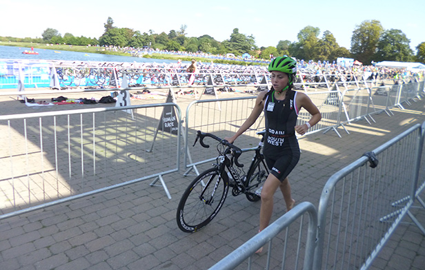 Lucy out of the water and transitioning on to the bike