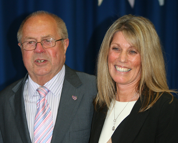 Mike Downton with Gill Allen, Headteacher at Ferndown Middle School
