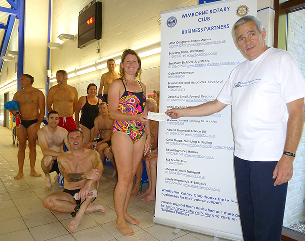 Prize giving at Wimborne Rotary Club's 12th annual Swimathon