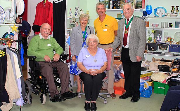 Alan Lindsay, John Astley, Pat Richardson, mayor and mayoress in Aladdin's Cave
