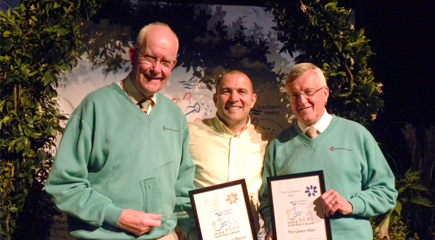 Regional Prizeging in Tunbridge Wells. TV presenter Chris Collins presents Anthony Oliver with Wimborne in Bloom's silver gilt and Richard Nunn with the Green Man's regional pub award