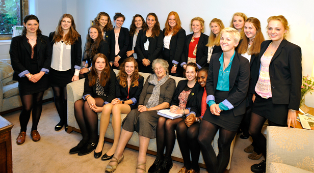 Germaine Greer with sixth-form students from Sherborne Girls in Dorset