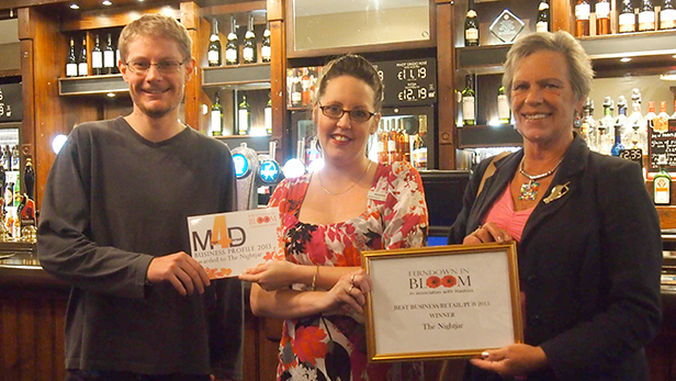 Ben Pulford, director of mags4dorset with manager of The Nightjar, Selina Parker and chair of Ferndown in Bloom, Cllr Jean Read