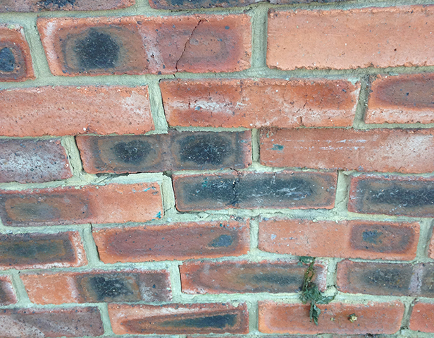 Damaged wall outside Wessex Denture Clinic