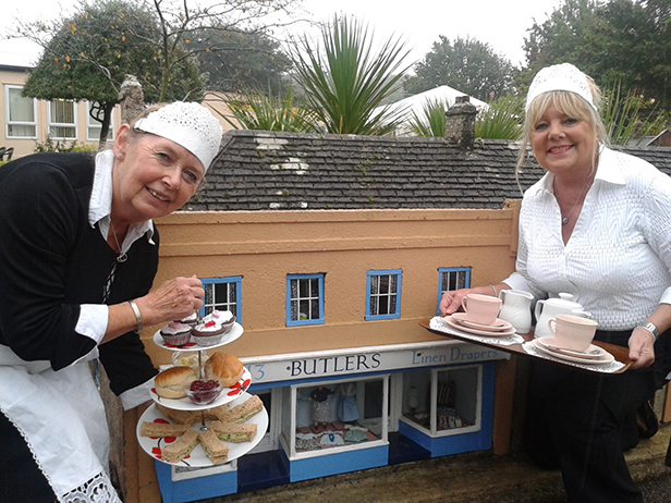 Nippies Marion Bailey (left) and Lorraine Beavan (right) with the Butlers' tea set