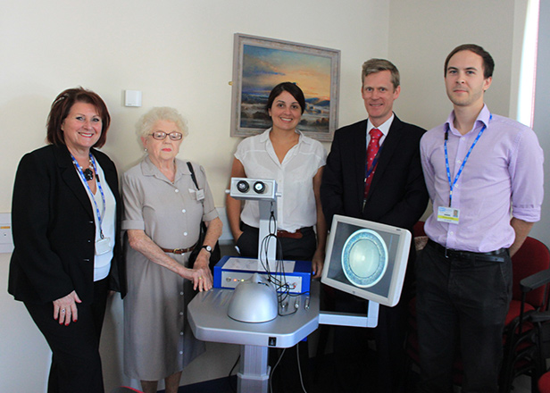 From left. Christine Hardwick, RBCH Postgraduate Medical Centre Manager; Margaret Neville, Chairman of Friends of the Bournemouth Eye Unit; Lindsey Sturman, Fundraising Manager of Bournemouth Hospital Charity; Mr James Kersey, Consultant Ophthalmologist and Dr David Saunders, trainee ophthalmologist