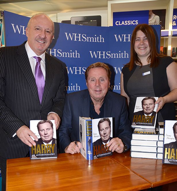 Bill Riddle with Harry Redknapp and WH Smith Store Manager Sarah Buckley