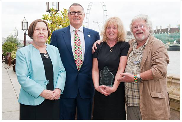 Pictured left to right are Baroness Gale, UK Director of IFAW Robbie Marsland, Lynne Parker and  Bill Oddie