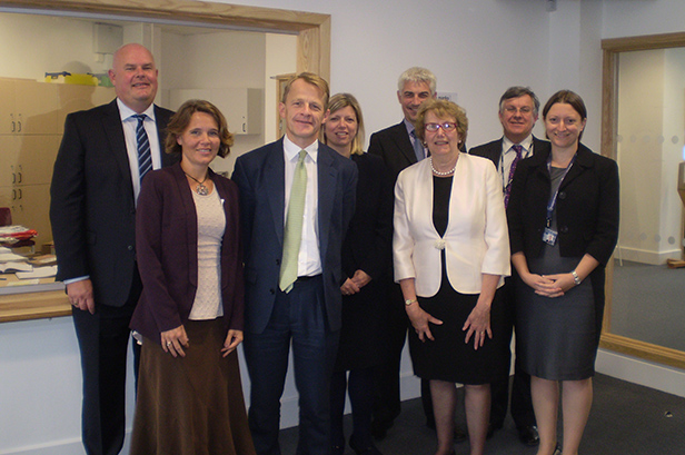 David meeting with the local heads, accompanied by Annette Brooke MP and Vikki Slade