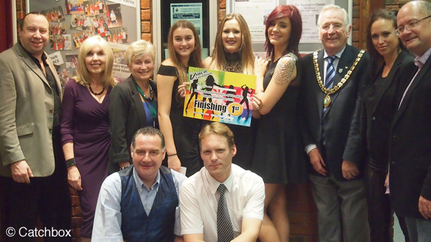 Harmony Twist - Winners of the Voice of Ferndown with the judges, presentors and the Mayor and Mayoress of Ferndown