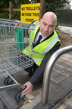Sean Page inspects the first trolley trap