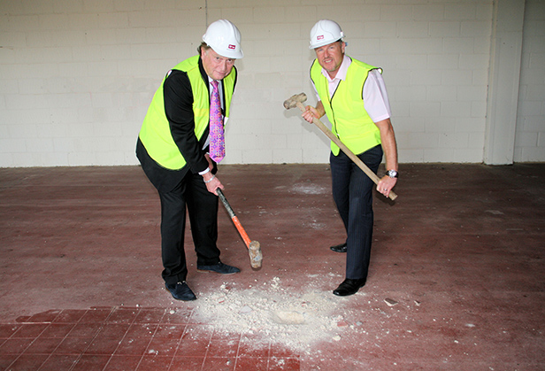 Cllr Ray Nottage, Leader of Christchurch Borough Council and Bryan Taylor, Centre Manager of Saxon Square Shopping Centre, helping to start work in the former medical centre to transform it into a Travelodge