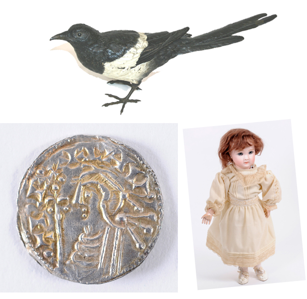 A cold painted bronze of a magpie, an 11th Century Cnut penny and a Jules Steiner `closed mouth` doll