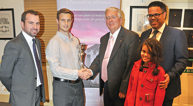 (l-r) Shane Watson, from sponsors The Dorset Funeral Plan, Jack Morgan from Broadstone CC, Peter Douch, Nick Douch and his daughter Tamika, all family of Jack Douch after whom the trophy is named