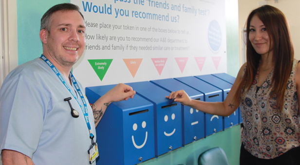 (l-r) Healthcare assistant Matt Hayward and ED Deputy General Manager Rohana Lustig with the feedback boxes.