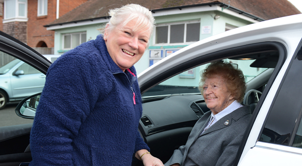 Dorset Blind Association volunteer driver Gill Brown with Iris Harmer