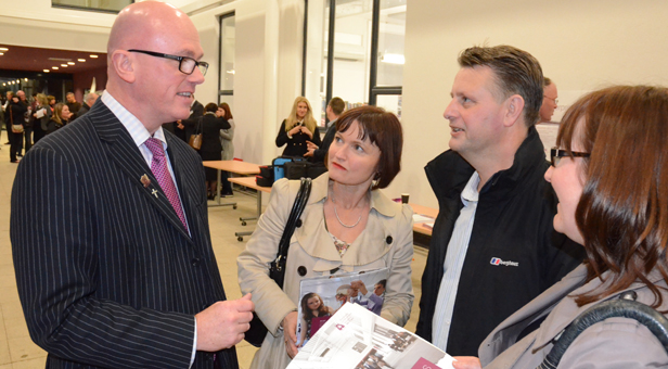 (From left) Paul McKeown discusses the new 6th Form prospectus with parents Tina Farriere-Ledden and John Ledden and Mia Stokes