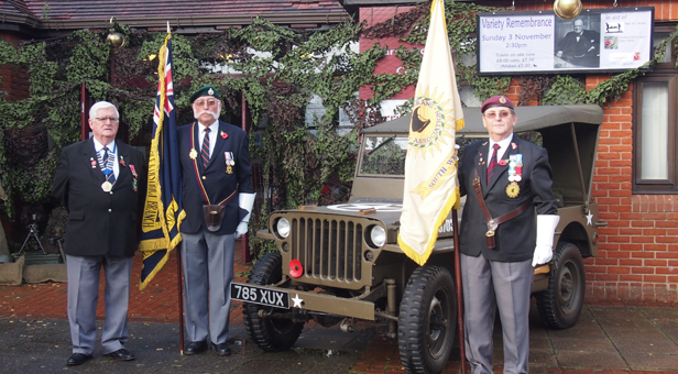 Standard Bearers from the right: Aidan Byrne of Aden Veterans and Sharky Ward of the Royal Marines prior to Variety Remembrance, joined by chairman of the Royal Naval Association and former Mayor of Ferndown,  Mick Arnold MBE