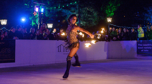 'Dancing on Ice' skater Vicky Ogden performs at the Bournemouth Outdoor ice rink