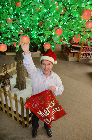Take your pick of Christmas decorations. Dean Ridley with the £2999 Christmas apple tree.