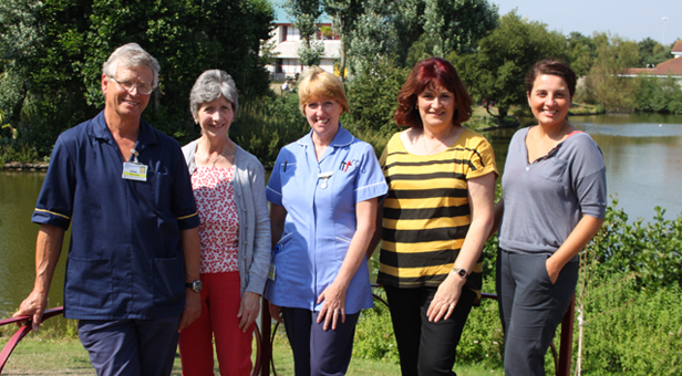 Mike Goodman, Upper GI Clinical Nurse Specialist, Jane Manning-Phillips, Nurse Christine Bleet, Lynn Ireland and Fundraising Manager Lindsey Sturman.