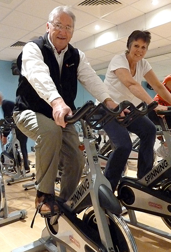 Terry Quinn and Caroline Brace in a CHAIN spinning session at the Littledown Centre